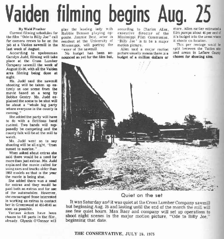 Lyric lyrics to ode to billy joe : History of Vaiden, Mississippi -- The Pictures
